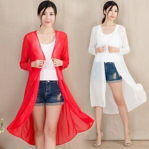 d372dcf567f7 Lady Sheer Mesh Kimono Cardigan See Through Summer Long Sunscreen ...