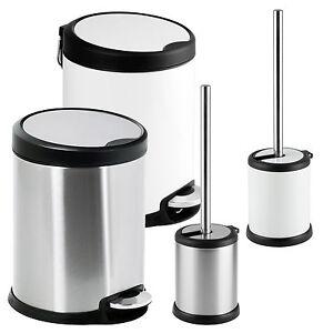 Showerdrape-Aero-White-Satin-3L-5L-Pedal-Waste-Bin-Toilet-Brush-Holder-Bathroom