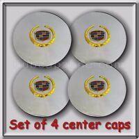 Set 4 Chrome Gold Cadillac Deville Wheel Center Caps 1998-1999 Replica Hubcaps
