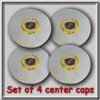Set 4 Chrome Gold Cadillac Deville Wheel Center Caps 2000-2008 Replica Hubcaps