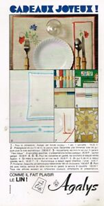L Publicité Advertising 1968 Linge De Maison Draps Agalys Collectibles Breweriana, Beer