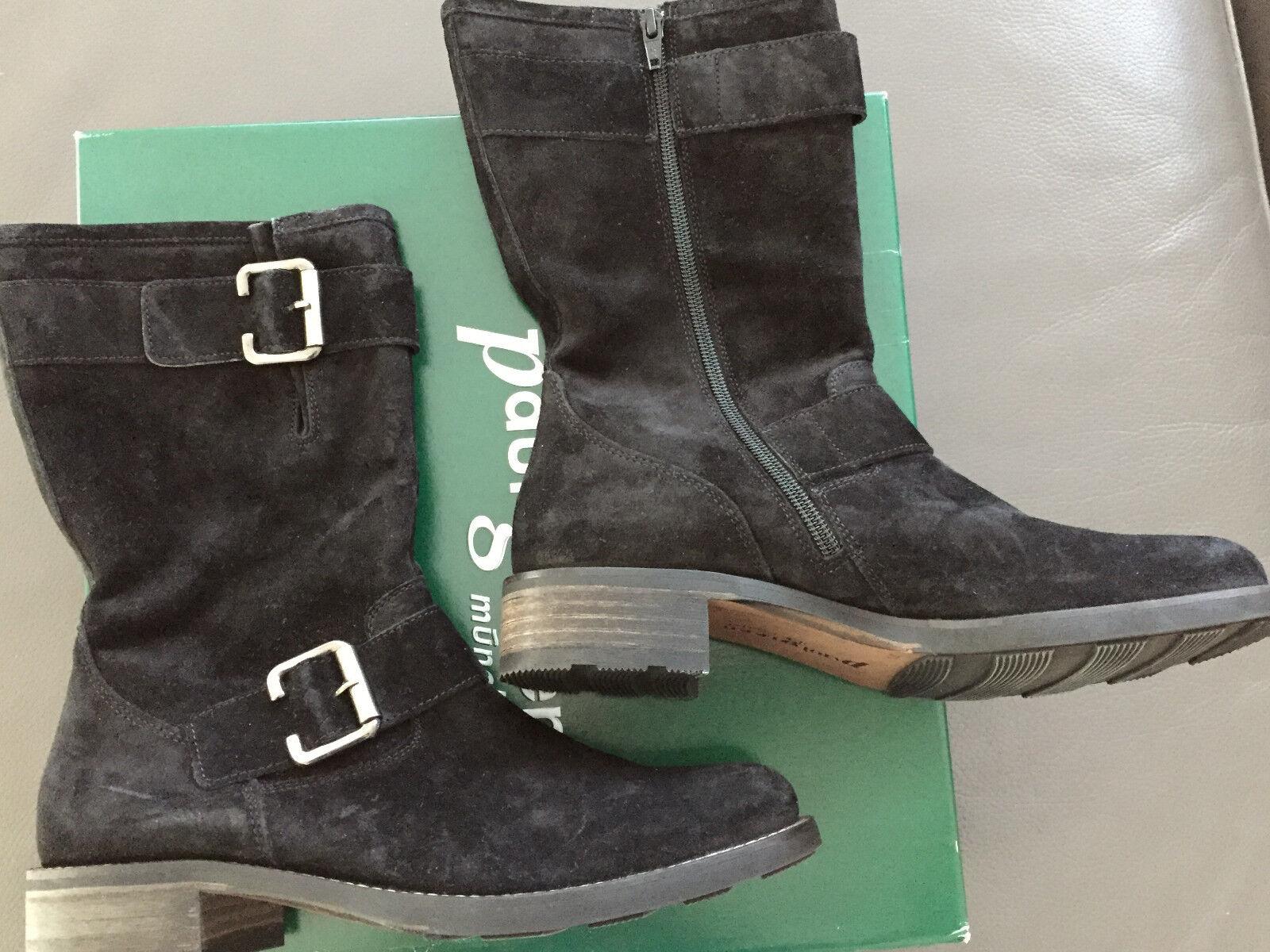 Paul Grün Damen Biker Stiefel, Velourleder Stiefel,Stiefelette Gr. 38,5, schwarz, Velourleder Stiefel, 8a480d