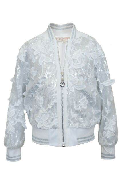 8b05e95a1 NEW! Girls Baby Sara Sequin and Lace Bomber Jacket Size 4y   eBay