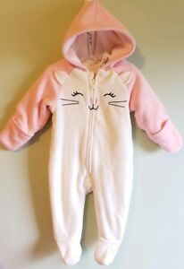 7102e5a83 Old Navy Baby Girls 3-6 MONTHS One-Piece Fleece Suit Coat KITTY CAT ...