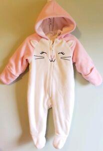 86f5545f7 Old Navy Baby Girls 3-6 MONTHS One-Piece Fleece Suit Coat KITTY CAT ...