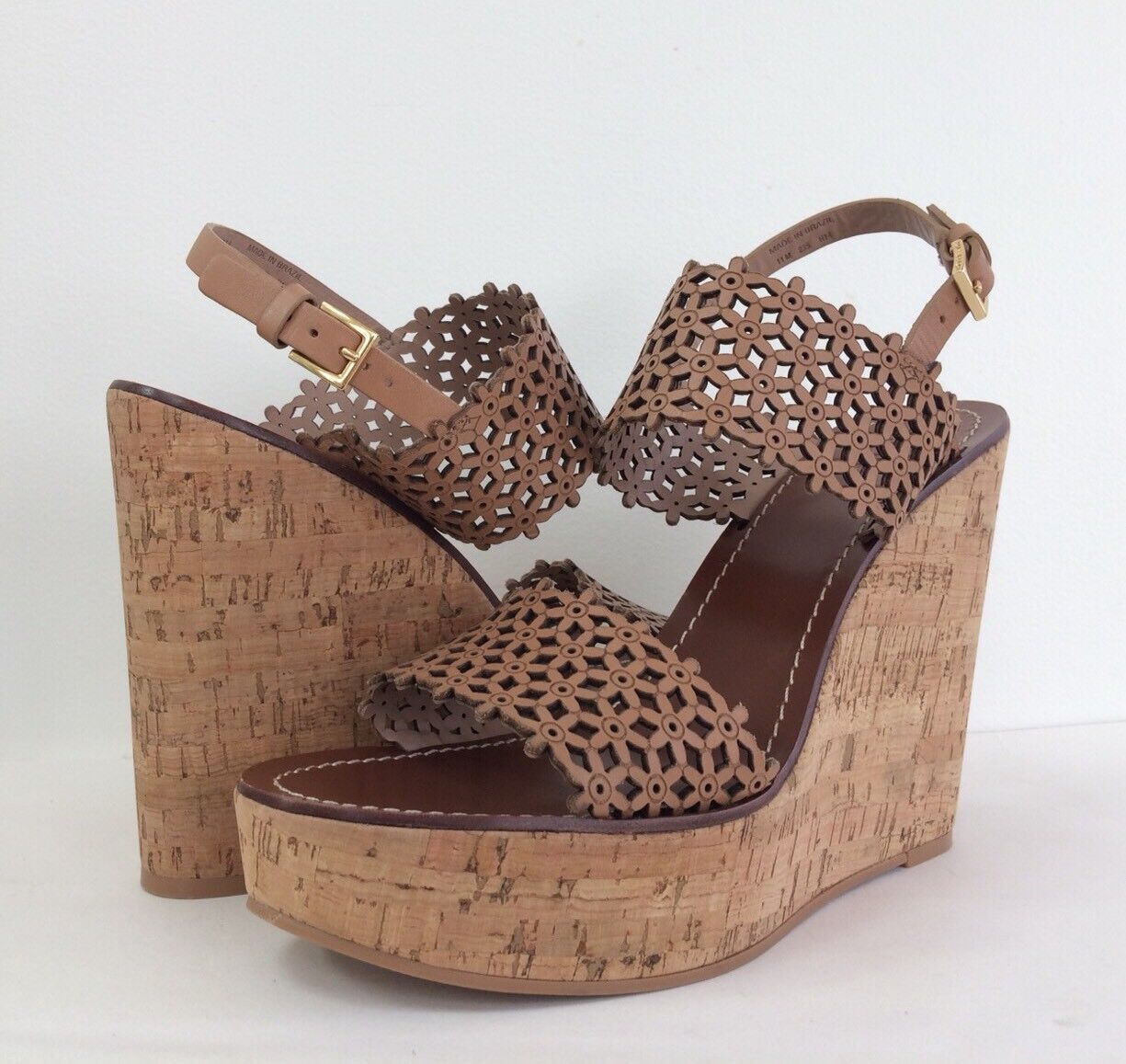 New Tory Burch Burch Burch Sz 11 Daisy Floral Platform Wedge Perforated Leather Sandal Tori 2d2fc0
