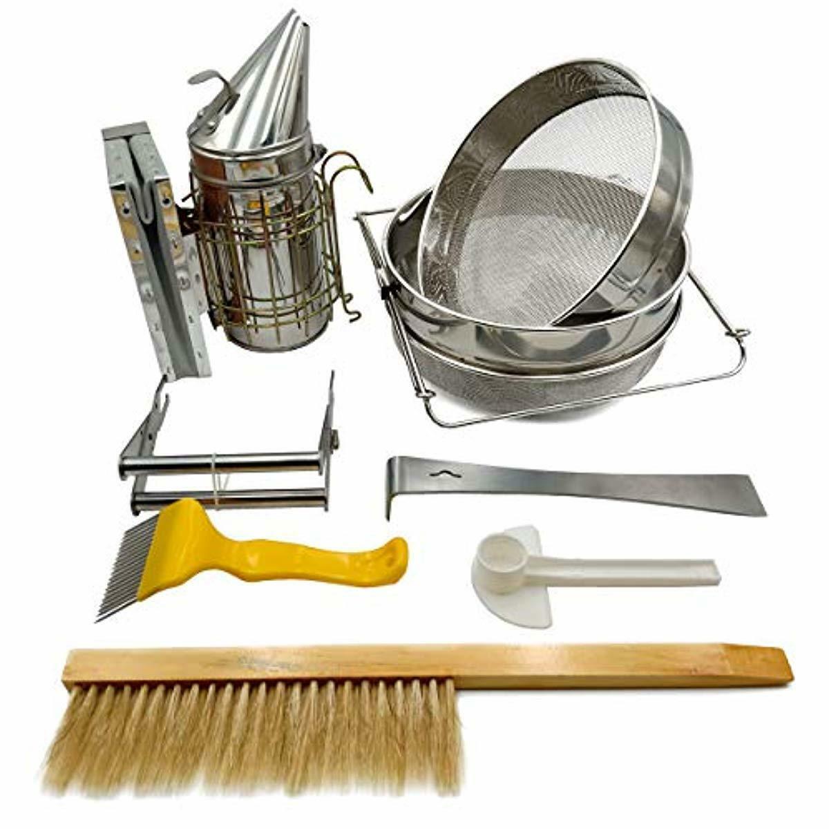 Juego 7 herramientas apicultura colador miel ahumador abejas cepillo horquilla