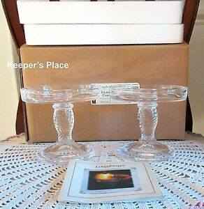 Set-Of-2-Longaberger-Glass-Pedestal-Candle-Holders-Clear-Basket-Weave-New-Box