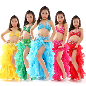 Details about K877# Kids Girls Belly Dance Costume (Top, Belt, Skirt) 8  Colors