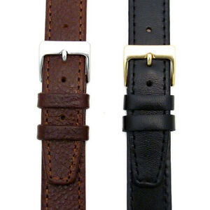 Genuine-Leather-Watch-Strap-Odd-Sizes-15mm-17mm-19mm-Black-or-Brown