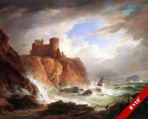 TANTALLON CASTLE RUINS SCOTLAND COAST SEASCAPE PAINTING ART REAL CANVAS PRINT