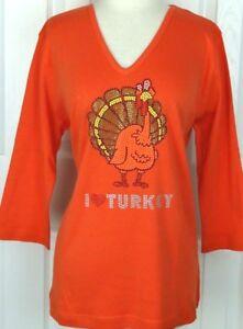 PLUS-3X-Top-Rhinestone-Hand-Embellished-HAPPY-THANKSGIVING-I-LOVE-TURKEY-Design
