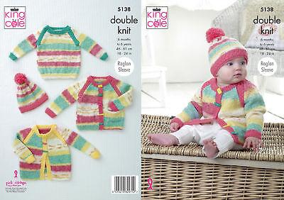 King Cole Baby Double Knitting Pattern Raglan Sleeve Sweater Jumper /& Hat 5205