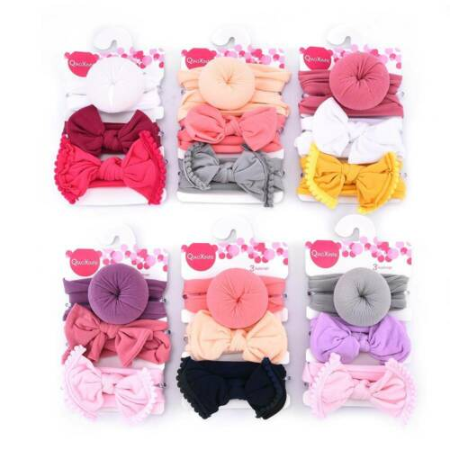 3 Pcs Baby Girl Kids Toddler Bow Knot Hair Band Headband Stretch Turban Headwrap