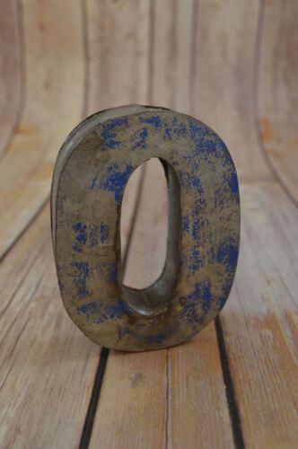 FANTASTIC VINTAGE STYLE BLUE 3D METAL SHOP SIGN NUMBER 0 ADVERTISING FONT