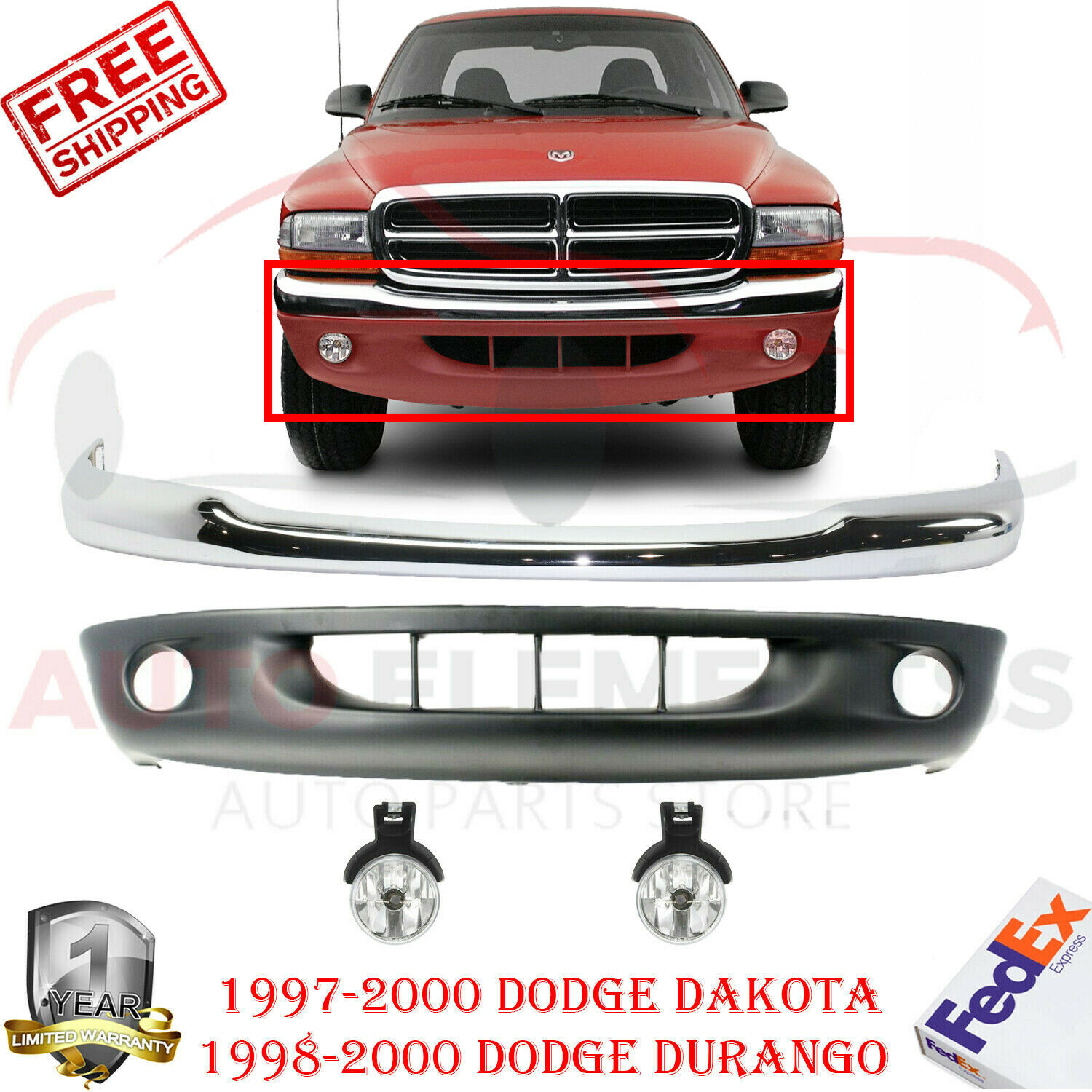 Front Lower Bumper Cover For 1997-2000 Dodge Dakota 2-Piece Type Textured