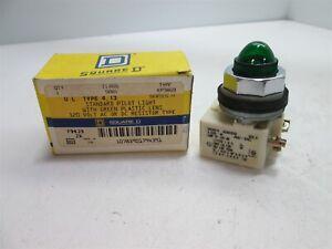 New-Square-D-9001-KM38G9-Pilot-Light-With-Green-Lens-Voltage-120VAC-DC