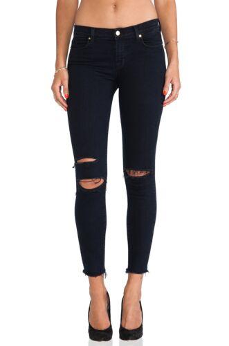 J BRAND Women Stylish Mid Rise Ripped Destroyed Skinny Jeans Dark Blue NEW