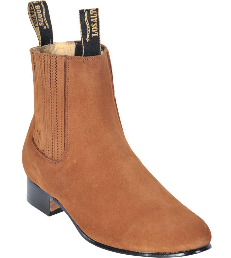 Men's Los Altos CAMEL Charro Ankle Nubuck Suede Boots Leather Outsole EE