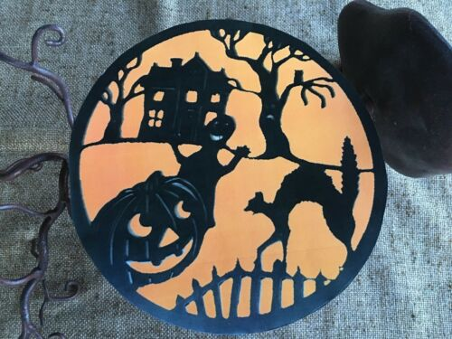"Vintage Repro Orange Black Silhouette Halloween Scene Cardstock Decoration 5/"""
