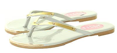 Señoras para mujer Verano Plana Flip Flop Playa Gold Toe Tangas Zapatos Sandalias Talla