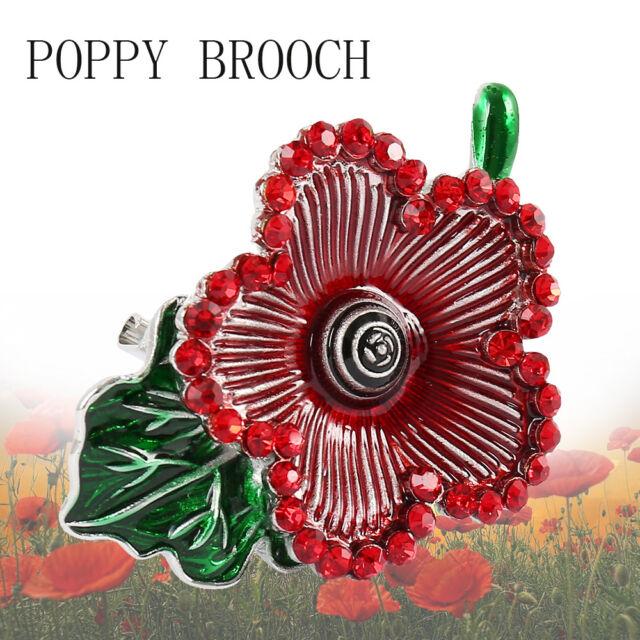24e7edfcf04 5 Petals Red Poppy Brooch Flower Enamel Crystal Pins Poppies Badge Brooches