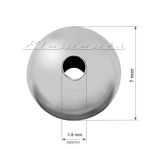 Sterling 925 Silver Round Seamless Spacer Beads With Two Hole MULTI LISTING