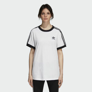 Details about NEW WOMEN'S ADIDAS ORIGINALS 3-STRIPES TEE [DH3188] WHITE //  BLACK