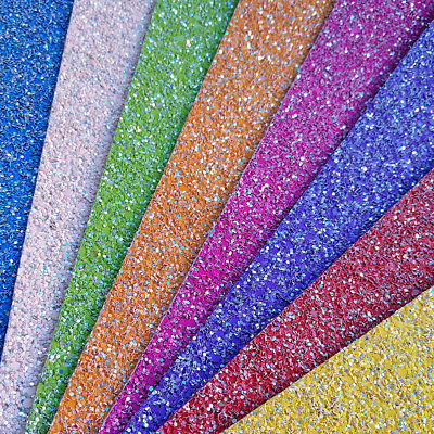 Ultra Chunky Plain Glitter Fabric A4 Or A5 Sheets Faux Leather For Bows /& Crafts