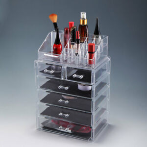 Clear Acrylic Jewelry Organizer Drawer Makeup Brush Box Display