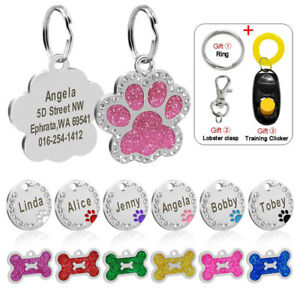 Bone-Round-Paw-Personalized-Dog-Tags-Puppy-Kitten-Cats-Engraved-Name-ID-Tags