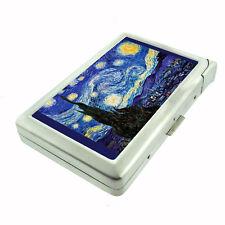 Vincent Van Gogh Starry Night D 141 Cigarette Case Built in Lighter Metal Wallet