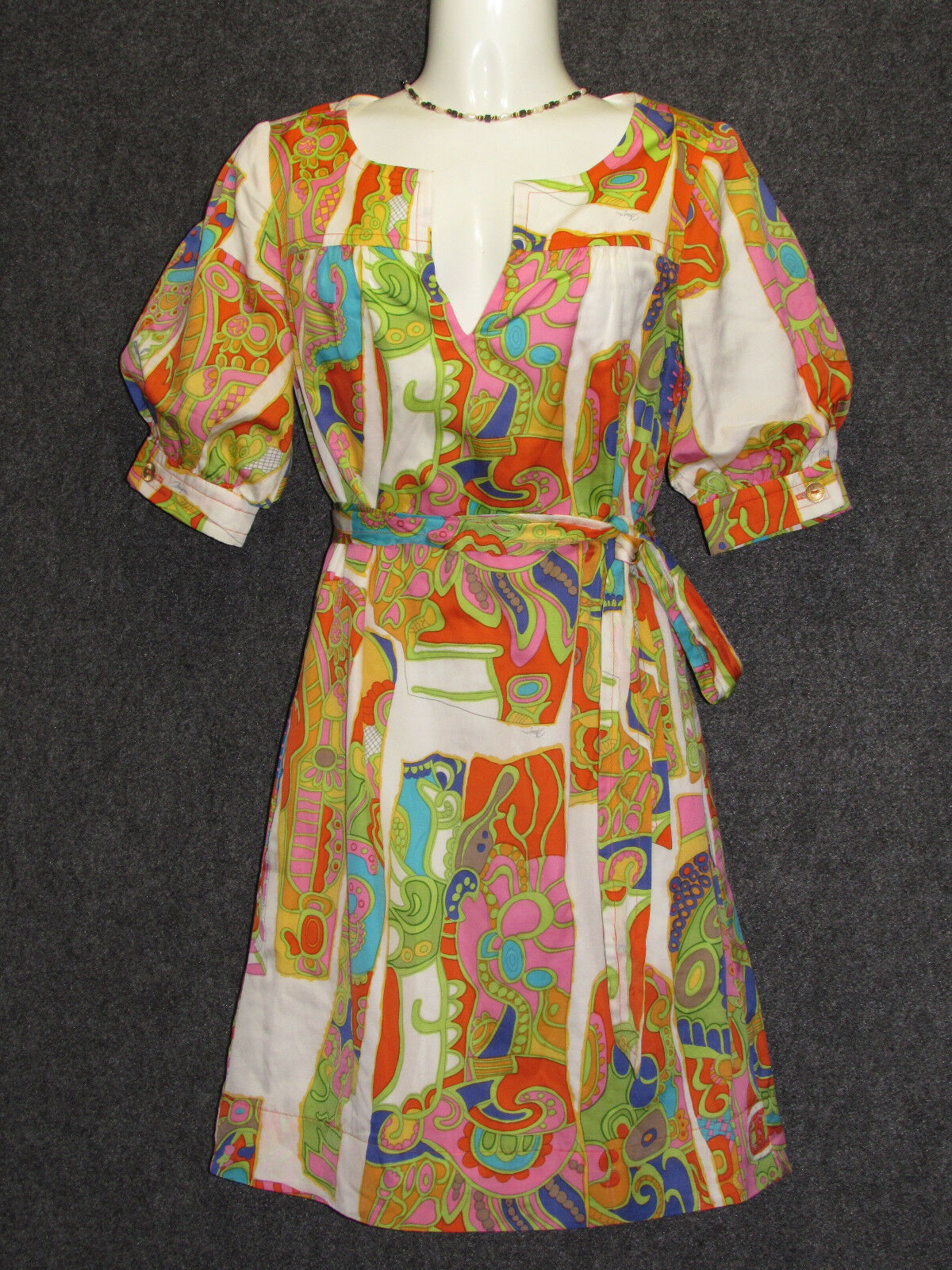 TRINA TURK colorful Abstract Pattern 3 4 Sleeve Dress SZ 0 NEW