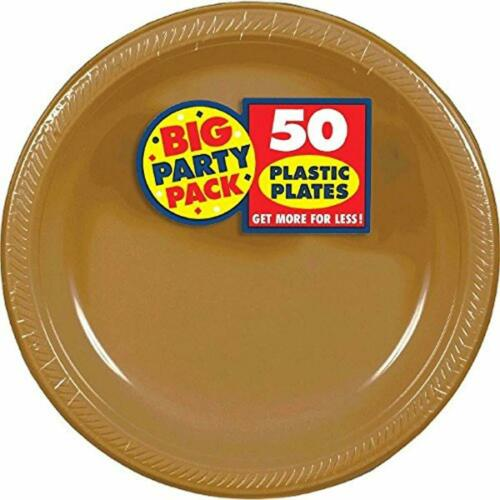 "Big Party Pack Gold Plastic Plates10.25/""Pack of 50Party Supplies SET"