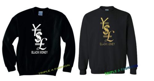 Noir Argent//Livre//YEN//Dollar Unisexe Manches Longues Nouveau Sweat-shirt Gold Print