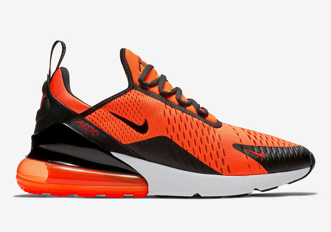 info for bdafa a22fb Nike Air Max 270 Mens Bv2517-800 Team Orange Black White Running Shoes Size  8