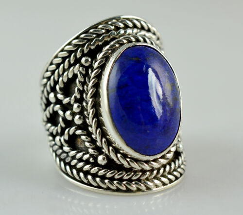 US-LPS-015 Lapis Lazuli Ring 925 Solid Sterling Silver Handmade Jewelry