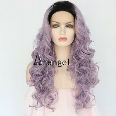 Ash Grey Lace Front Wig Gray Purple Long Wavy Heat Resistant Synthetic Hair