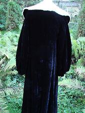 Vintage 30s Black Velvet Coat Cloak ERmine Fur Collar BALLOON SLEEVES S GC