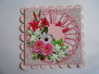 PACK 2 FLORAL PINK FAN EMBELLISHMENT TOPPERS  FOR CARDS & CRAFTS