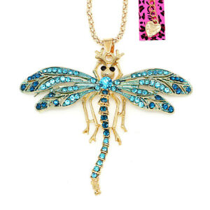 Cute-Enamel-Crystal-Dragonfly-Pendant-Sweater-Chain-Betsey-Johnson-Necklace