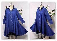 Elegant European Style Boho, Denim Designer Hi Low Plus Size Shirt,small To 3xl