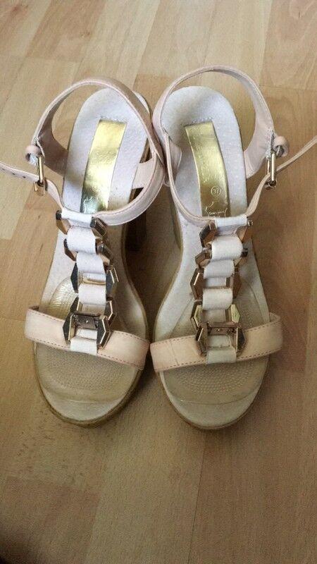 Sommerliche, hohe Schuhe, Nude Nude Nude mit RoséGold, Größe 37 23f786