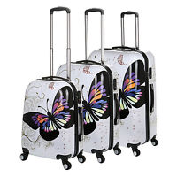 White Butterfly 20/24/28 Luggage 4 Wheel Spinner Suitcase Pc Trolley Case Au