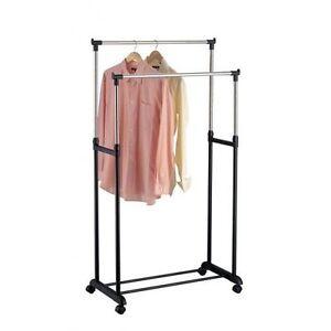 Perchero-ropa-2-bares-en-rodillo-Puerta-ropa-Doble-Extensible