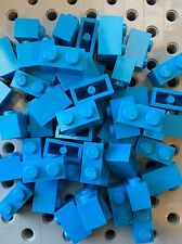 Lego 1x2 Dark Azure Blue Bricks Blocks 1 x 2 New Lot Of 50