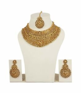 Indian Fashion Jewelry Wedding Earrings Necklace Gold Bridal