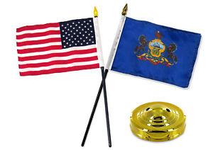 "Pennsylvania State 4/""x6/"" Flag on a Pole NEW"