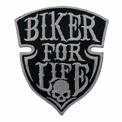 Biker Vest Embroidered DIY Sewing Motif Applique Punk Skull Iron On Patch Rock