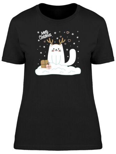 Image by Shutterstock Merry Christmas White Cat Women/'s Tee